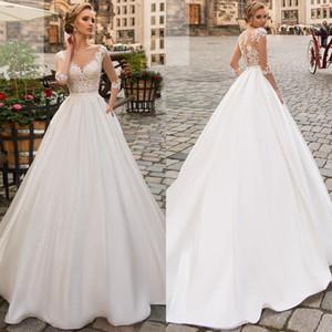 2020 Plus Size País Wedding Dress manga comprida Boho vestidos de noiva para mulheres A Linha do laço do marfim apliques de cetim vestido de casamento