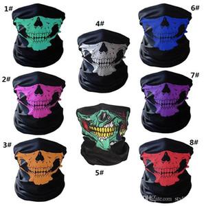 unisex Halloween Cosplay Bicycle Ski Skull Half Face Mask Ghost Scarf Bandana Neck Warmer Party headband Magic Turban balaclava WCW273