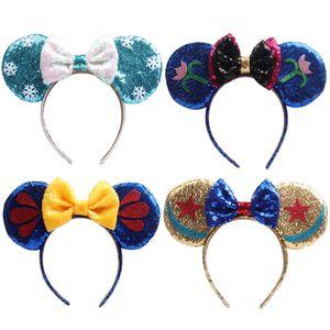 Orecchie Cute Girl Snow Queen principessa mouse paillettes Crown Hairband con l'arco dei capelli fasce bambini Bling capelli glitter inverno Accessori per capelli