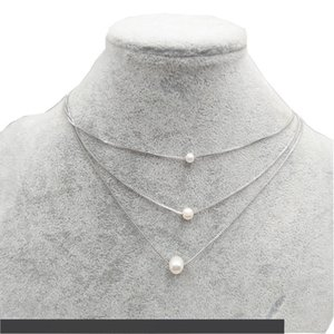 Multilayered Freshwater Pearl Pendant Necklace For Women Girls Copper Floating Pearl Clavicle Chain Necklace Elegant Jewelry