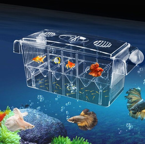 4 Rooms High Clear Fish Breeding Box Acrylic Aquarium Breeder Box Double Guppies Hatching Incubator Isolation