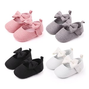 Hot sale baby shoes 2020 new Toddler Baby Girls Knit Crib Shoes Solid Cute Bowknot Anti-slip stickers First Walkers#37