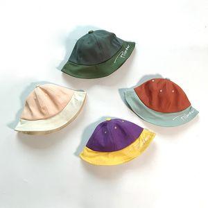 Bebek Açık Güneşlik Dome Şapka Yeni Renk Eşleştirme İngilizce Nakış Balıkçı Şapka çocuk Şapka Bahar Ve Yaz
