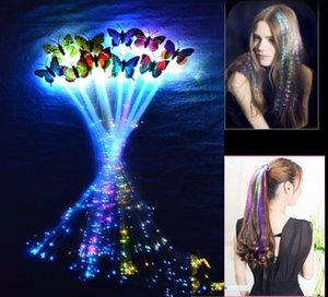 Papillon Flash Cheveux LED Tresse Femmes Coloré Lumineux Pinces À Cheveux Fibre En Épingle À Cheveux Lumière Up Party Halloween Nuit De Noël Décor Bouton Batterie