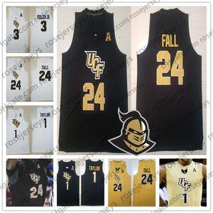 Özel UCF Knights Koleji Basketbol Herhangi İsim Numarası Altın Beyaz Siyah 1 BJ Taylor 24 Tacko Güz 3 Dre Fuller Jr. 2019 Jersey