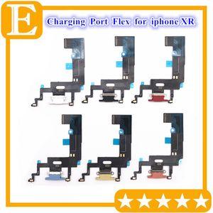 Porta USB Charger Flex Para XR iphone com fita Flex Cable Board Mic Microfone Conector peças de reposição 10pcs