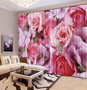 Modern Fashion 3D Curtain Custom Photo Bright roses Living room Office Hotel Home Decorative Curtain Window