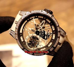 4 estilo Melhor Excalibur 42 Tourbillon Squelette Mecânico Mão-liquidação Mens Watch RDDBEX0419 Diamante Caso Branco Skeleton Dial Rubber Strap