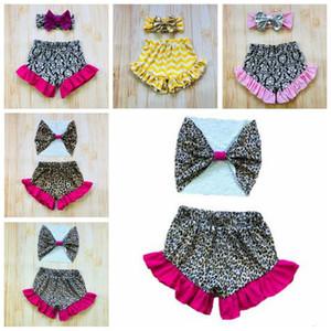 Bebê Bloomer Shorts Meninas Ruffle PP Calças Ternos alça Summer Stage Boxers Toddle Moda Impresso Diaper Covers Leopard Cueca C6070