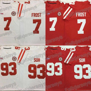 NCAA Nebraska Huskers 7 Scott Frost 93 Ndamukong Suh College Football Jerseys Doppio nome cucito e numero rosso bianco