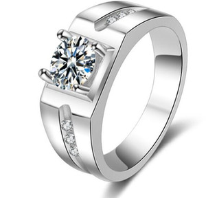 Rápido Frete grátis Xmas 1 CT estrela corte atacado SONA anel de casamento do diamante Sintético prata esterlina 14 k banhado a ouro branco anéis de noivado