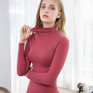 Solid Color Slim Women's Thermal Underwear Set Winter Turtleneck Cotton Long Johns Female Second Skin Thermo Clothing Pajamas