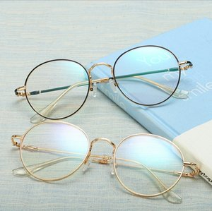 Round frame Glasses stainless steel plain mirror Blue-plated glasses frame for male and female students coated optical mirror