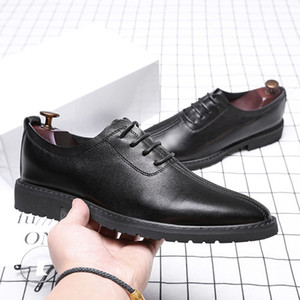 Fashion Genuine Leather Men Business Dress Shoes Male Oxford Shoes High Quality Lace Up Business Wedding Shoes Q-498