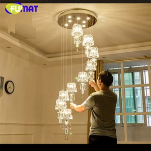 FUMAT Crystal K9 Stairway Ceiling Lamps Modern Villa Chandelier Lighting GU10 120V 240V LED Luxury Hanging Light Fixture Lamp