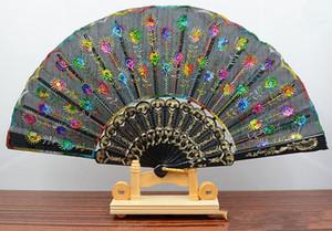 Hechos a mano pavo real Bordado Tela abanico abanico de seda de grado superior nupciales ventiladores Ventiladores de dama de honor mango de bambú hueco accesorios para bodas Fold fans