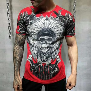 Pp Bag Packaging!brand Men Summer Warrior Rhinestone Print T Shirt 100% Pure Cotton Fashion Tops Tees Male Casual T-shirt Y190509