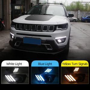 2pcs del coche LED DRL luz con función de señal amarillo relé luz diurna Luz día Para Jeep Compass 2017 2018 2019
