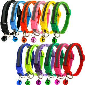 Collar Cat Dog Neck com plástico Fecho Reflective 13 cores Abastecimento Animais quatro Coleiras Fit pequeno Pet 0 85qq E1