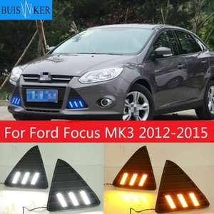 1 Set with Turn Signal Lamp LED DRL Waterproof IP67 Front Fog Lamp Daytime Running Lights for Focus 3 2012-2020 12V