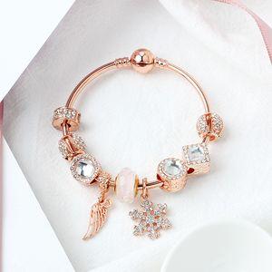 NUOVO FAI DA TE gioielli fascino braccialetto angolo ala quattro foglia pendente di fascino perline accessori 925 braccialetto d'argento per il trasporto libero Braccialetti delle donne della ragazza