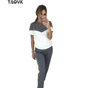 Taovk Stylish Cotton Suits Summer Casual Tracksuit Patchwork Short Sleeve Tops+long Pant 2 Piece Sets Running Suit Y19062601