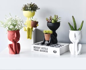 New nordic art home crafts display window model room soft decoration wholesale abstract figure creative flowerpot