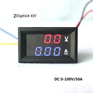 مقياس مقياس مقياس الرقمية Voltmeter YB27VA DC 0-100V / 50A 2-in-1 الرقمية فولت أمبير أدى عرض لون مزدوج أحمر / أزرق شحن مجاني
