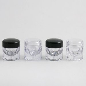 30 X 5g Clear Plastic AS  Small Sample Jar  Case with 1 3 12 Holes Clear Black Cap Cosmetic Travel Empty Jar