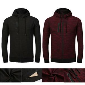Laufende Strickjacke dünne Mens Sports Hoodies Frühling Fitness Langarm mit Kapuze Normallack Mens Sweatshirts mit Reißverschluss
