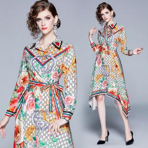 Luxus-beiläufige Art und Weise gedrucktes Kleid Frühling Herbst Runway Frauen Revers Ausschnitt asymmetrisches Kleid Büro-Dame Geschäft dünne Partei-Abschlussball-Kleider