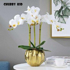 toque real arreglos florales Ikebana artificial de orquídeas mariposa boda de la orquídea blanca de látex con maceta de cerámica de oro