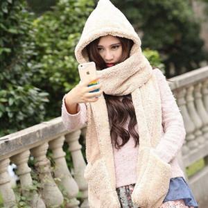 Guanti con Pocket Fluffy Hood Sciarpa Earflap cappello di inverno Autunno caldo a lungo delle donne Sciarpe di alta qualità scialle femminile di vendita calda
