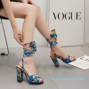 Posimi Second Wild2019 Decorative Pattern Coarse Sandals Hollow Out High With Women's Shoes 40 r08