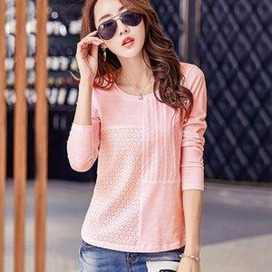 BOBOKATEER camiseta de manga larga mujer camisetas algodón o cuello camiseta femme bordado camiseta mujer tops camisetas mujer 2019