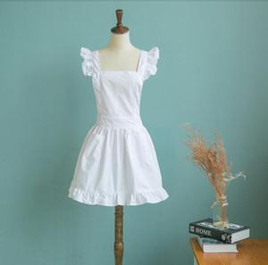 Японский стиль элегантный Викторианский фартук Фартук горничной кружева халат костюм рябить карманы белый / розовый Волан женщины фартук