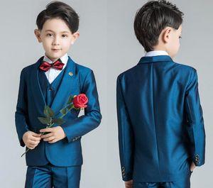 Erkekler Biçimsel OccasionTuxedos Notch Yaka İki Düğme Merkezi Vent Çocuklar Düğün Smokin Çocuk Suit Özel Şık Çocuk Boy Suit Elbise
