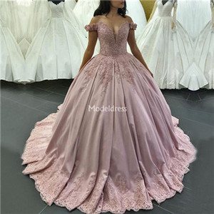 Charming Sparkling Princess Ball Gown Quinceanera Dresses Off Shoulder Appliques Sweep Train Formal Party Prom Gown For Sweet 16 Hot Vestido