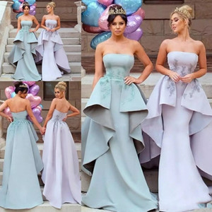 2019 Sexy Elegant Mermaid Bridesmaid Dresses Satin Appliques Sleeveless Strapless with Detachable Train Maid Of Honor Gowns Wedding Guest