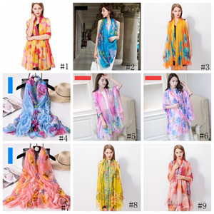 200*140cm Fashion Silk Scarves Shawl Women Chiffon Beach Towel Blanket Floral Print Summer Sunscreen Wraps Girl Sarongs Scarf GGA3376-1