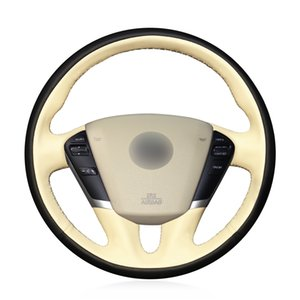 MEWANT DIY Custom Artificial Leather Steering Wheel Cover Wrap for Nissan Teana 2008-2012 Murano 2009-2014 Quest 2011-2017 Black with Beige