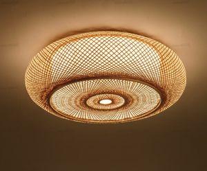 Luminaria rústico asiática lámpara Plafon japonesa de tejido a mano de bambú de mimbre Rattan Ronda de la linterna cortina de techo Habitación Sala LLFA