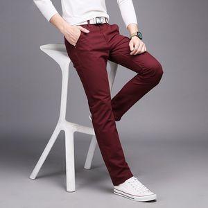 New Casual Men's Cotton Slim Pants Leisure Straight Trousers Fashion Business Solid Long Leg Pencil Pant