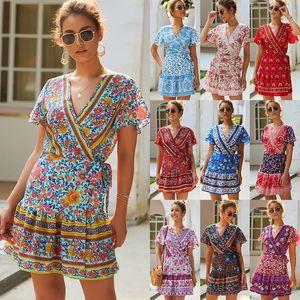 Summer Short Print Casual Dress Women A-line Cotton Bohemian Floral Print V-Neck High Waist Mid-calf Dress DHA142