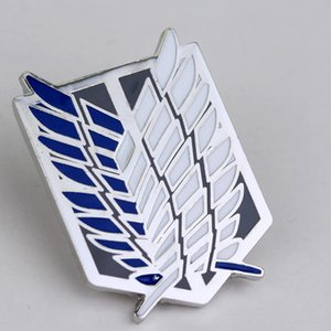 Attack on titan Spille ali di smalto Spille nero bianco blu piuma pin metal mini Giant Legion Flag spille distintivo spilla cosplay