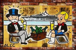Alec Monopoly Handpainted HD-Druck Abstrakte Graffiti Urban Art Ölgemälde Yacht auf Leinwand, Multi Größen / Rahmenoptionen G250
