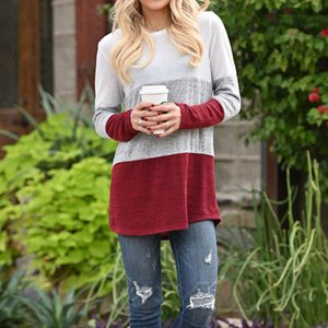 Panelled Autumn Womens Tshirts Three Color Contrast Casual Loose Womens Designer Spring Tees Long Sleeve Crew Neck Long Tees