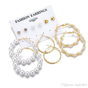 New Gold Color 6 Pairs Set Pearl Earrings For Women Geometric Twist Big Circle Earring White CZ Zircon Statement Earrings