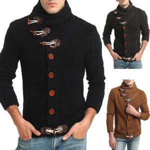 Manches longues hiver de haute qualité Hommes Pulls Manteaux 2018 Nouveau mode chaud Corne Bouton Cardigans Pull Outwer M-2XL