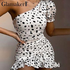 Повседневные платья Glamaker LeoPard Print Pead Puff Willu White платье Женщины Rucher Короткие Летние Bodycon Сексуальная Элегантная Партия Клуб Мини